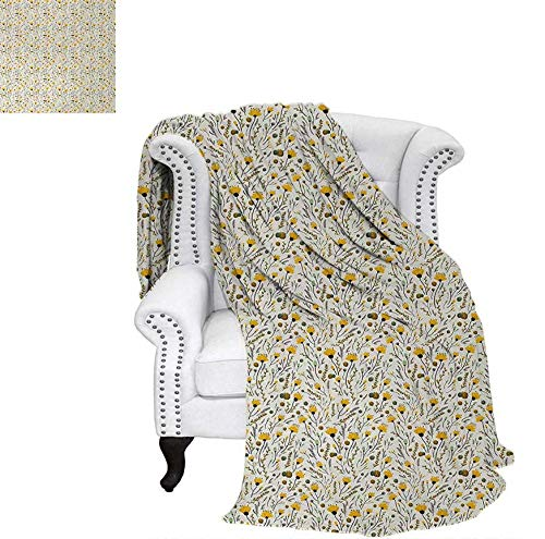 Summer Quilt Comforter Yellow Flowers with Acorns and Foliage Pattern Ecology Themed Spring Digital Printing Blanket 70