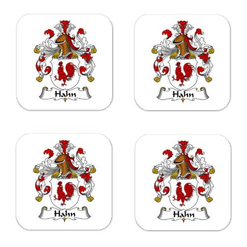 Hahn Family Crest Square Coasters Coat of Arms Coasters - Set of 4