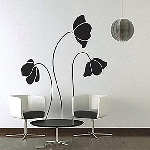 Mural Room Paper Art Black Flower Wall Stickers Removable Home Decor Decals (Corvette Planner)