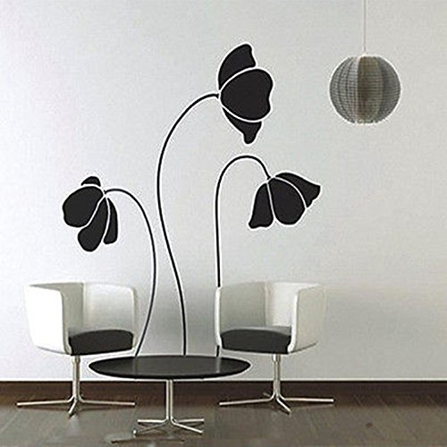 Mural Room Paper Art Black Flower Wall Stickers Removable Home Decor - Angeles Love Los Culture