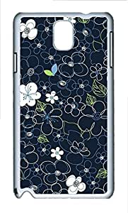Cases For Samsung Galaxy Note 3 - Summer Lovely Customize Black Line Flowers PC White Cases