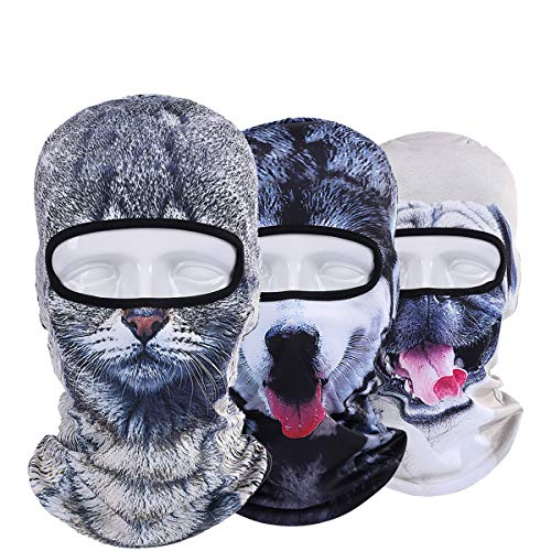 WTACTFUL 3 Pack - 3D Animal Balaclava Head Cove Hood Face Mask Protection Wind Dust Snow UV for Hunting Fishing Skiing Snowboard Bicycle Riding Driving Motorbike Cold Weather Winter Sports 06-07-09