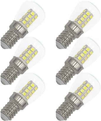 Bombilla de aplicación de tornillo Edison pequeño LED E14, 3W (equivalente a 30W), blanco frío 6000K,para refrigerador frigorífico, máquina de coser, campana de cocina que enciende 220V-240V: Amazon.es: Iluminación