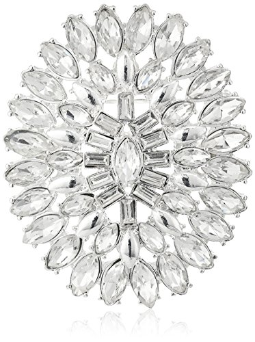Silver Tone Crystal Flower (Napier