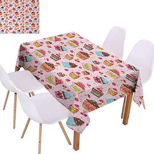 UHOO2018 Pink,Decorative Tablecloth,Kitchen Cupcakes Muffins Strawberries and Cherries Food Eating Sweets Print,Easy Care and Durable,Light Pink and Brown,60