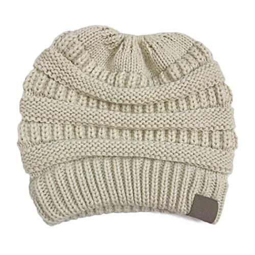 GuGio Womens Ponytail Messy Bun Knite Beanie Winter Warm Stretch Hat Skull Cap