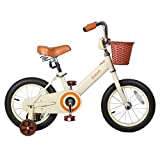 JOYSTAR 14 Inch Kids Bike for Girls,Vintage Kids Bicycle with Front Basket & Training Wheels for 4-6 Years Girls, Coaster Brakes (85% assembled)