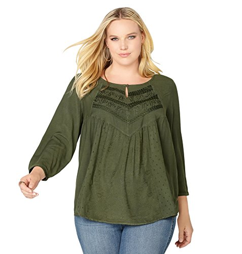 -AVENUE Women's Embroidered Babydoll Blouse, 30/32 Olive