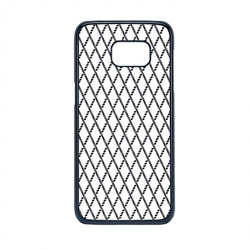 Cell Phone Case Compatible Samsung Galaxy S7 Edge,Geometric - Hard Plastic Phone Case/Black - Checkered Rope Pattern Maritime Themed Fish Net Shape Nautical Inspirations Decorative (Rope Inspirations)