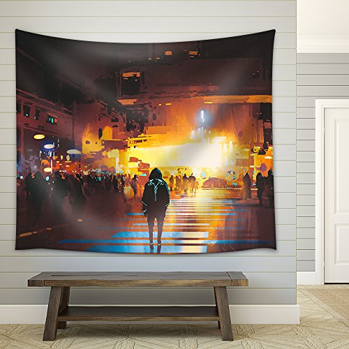 Man Standing on Street Looking at Futuristic City at Night Sci Fi Concept Illustration Painting Fabric Wall