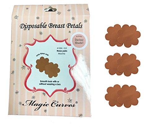 Women's Mocha Dark Nude Pasties Nipple Covers 3 Pairs (103N - Brown Nude
