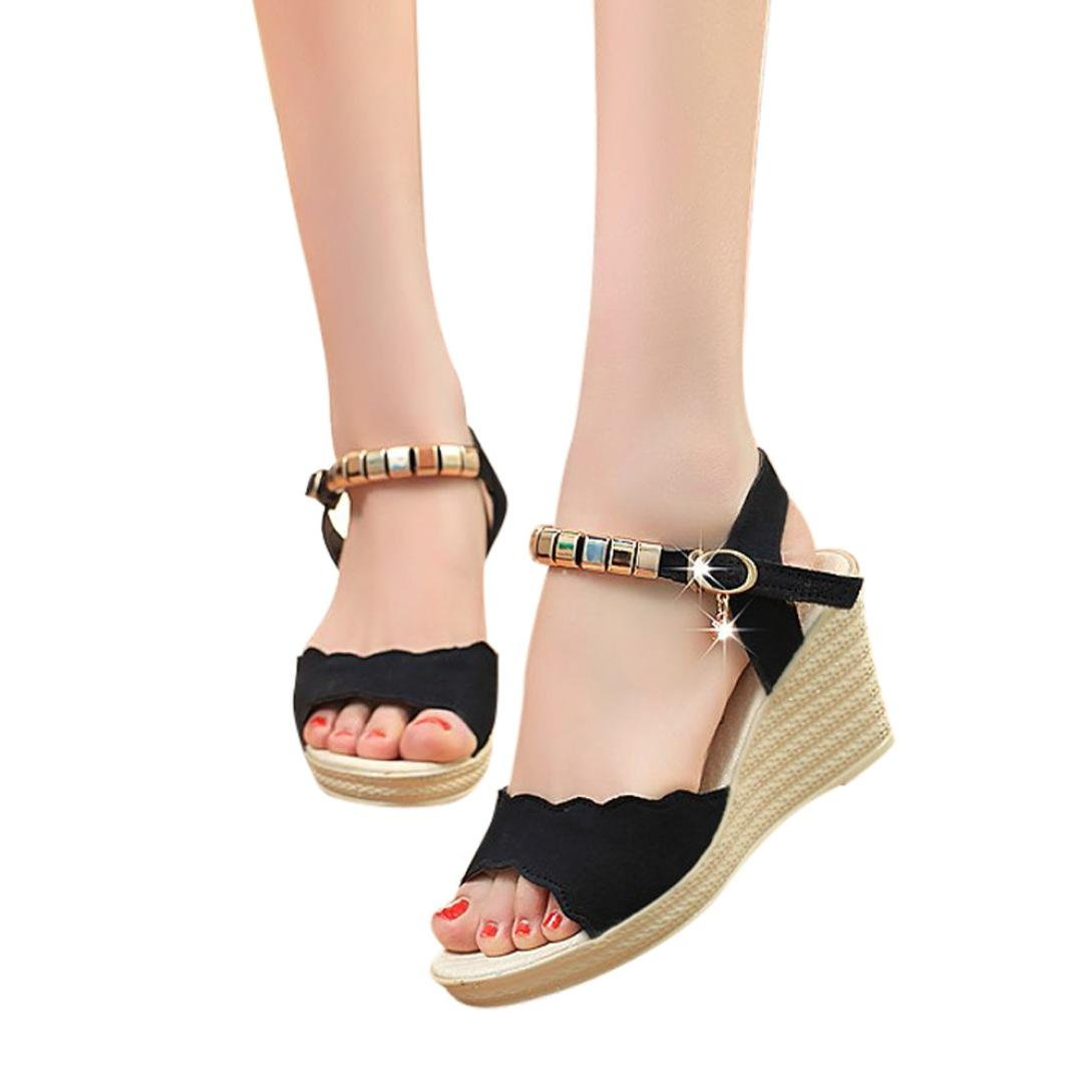 AIMTOPPY HOT Sale, Summer Wedges Sandals Shinestone Waterproof Platform open Toe word Buckle women's Shoes (US:7, Black)