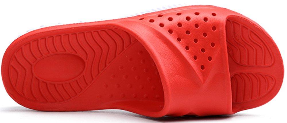 Phefee Mens Slide Sandals Anti-Slip Lightweight Bathroom Shower Slipper(Red40) by Phefee (Image #3)