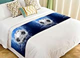 PicaqiuXzzz Custom Sports Bed Runner, Football Soccer Ball on Water Bed Runners And Scarves Bed Decoration 20x95 inch