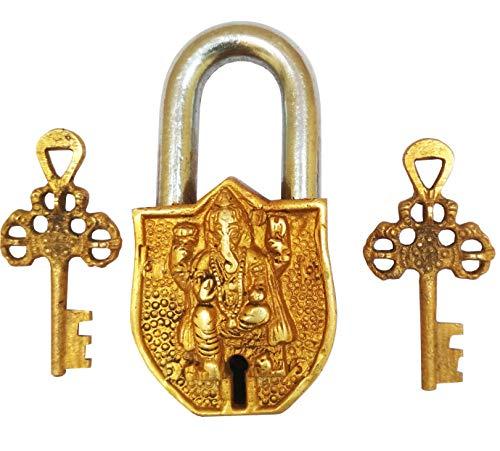 (Purpledip Vintage Brass Padlock/Lock with Lord Ganesha (Hindu God Ganapati, Ganapathi or Vinayaka) Sculpted in Brass Metal - Small (10328))