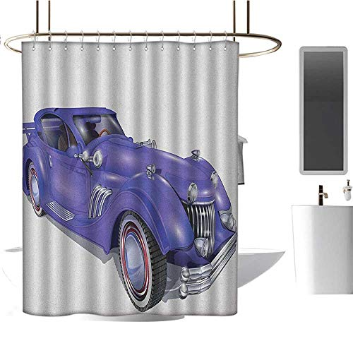 MKOK Polyester Fabric Shower curtain54 x78 Cars,Custom Vehicle with Aerodynamic Design for High Speeds Cool Wheels Hood Spoilers Violet Blue,Machine Washable - Shower Hooks are Included