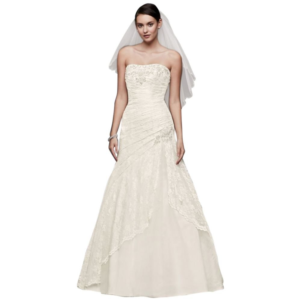 A Line Lace Wedding Dress With Side Split Detail Style Yp3344 At