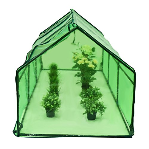 "GHP Outdoor 94.5"" Lx35.4 Wx35.4 H Green Triangular Roof Plant Greenhouse w PVC Cover"