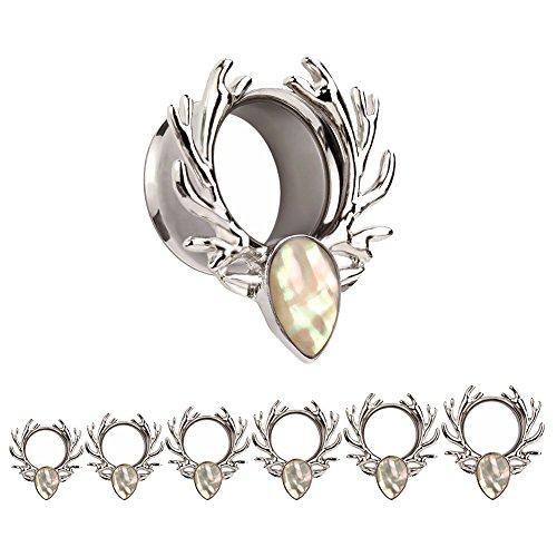 Bigbabybig Forest Antlers Man Women Opal Ear Plugs Tunnels Gauges Stretcher Piercings (Silver 10mm=00g) by Bigbabybig
