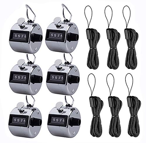 - Kissmi Pack of 6 Hand Tally Counter 4 Digit Mechanical Palm Click Number Counter Handheld Counter Clicker with Nylon Lanyard