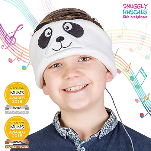 Snuggly Rascals (v2) Kids Headphones - Headphones for Kids - Comfortable, Adjustable and Volume Limited - Great for Travel & Children's Tablets and Smartphones - For Girls and Boys - Fleece - Panda