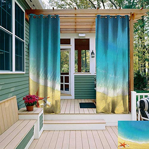 (leinuoyi Starfish, Outdoor Curtain Extra Wide, Seashore View Waves on Sandy Beach Caribbean Paradise Summer Season Illustration, Outdoor Patio Curtains W120 x L108 Inch)