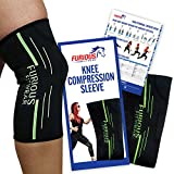 Furious Fitwear Knee Compression Sleeve for Running, Basketball, Weight Lifting & Other Sports – Single (1) Sleeve