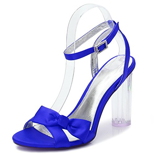 L@YC Women Wedding Shoes Bride F2615-1 Crystal Platform Thick With Peep Toe Party/Prom/Sandals Blue