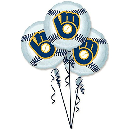 Amscan Exciting Milwaukee Brewers Balloons Party Decoration (3 Pack), 18