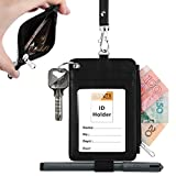 #1: Leather Badge Holder, PLENTY Heavy Duty ID Badge Wallet with Pen Loop Key Ring,5 Card Slots, 1 Side Zipper Pocket and Neck Lanyard Strap for Offices School ID, Driver Licence (Black)