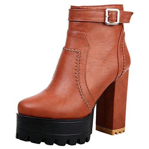 YE Damen Ankle Boots Chunky Heels Plateau Stiefeletten Geschlossen mit Reißverschluss Blockabsatz 11cm Elegant Bequem Schuhe Brown