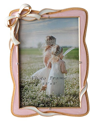 L&T Elegance Metal Picture Frame Gold Plated with Pink Enamel and Crystals, Bow Ornament, 3.5 by 5 inch