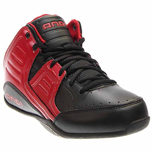 AND1 Men's Rocket 4.0 Mid Sneaker,F1 Red/Black/Silver,US 12 M