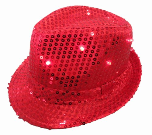 WeGlow International Light Up Sequin Fedora Hat, Red