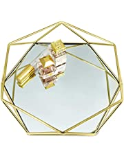 Gold Mirror Tray Catch-All, Jewelry Tray with Non-Slip Base, Perfume Tray for Dresser, Gold Tray Decorative Tray, Jewelry Organizer Tray, Vanity Trays for Dressers, Bathroom Tray, Glass Tray,