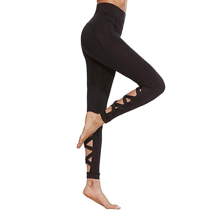 VJGOAL Mujeres Pantalones de Yoga de Cintura Alta Color Sólido ...