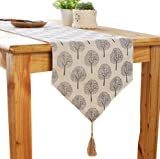 Aothpher 12 inch by 86 inch Rustic Tree Table Runner Cotton Linen Pattern Washable Floral Tree Grey with Tassel