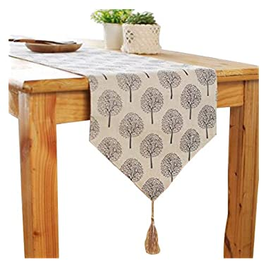 Aothpher 12 inch by 72 inch Rustic Tree Table Runner Cotton Linen Pattern Washable Floral Tree Grey with Tassel
