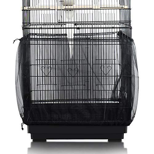 SYOOY Bird Cage Cover Universal Birdcage Nylon Mesh Cover Seed Catcher Parrot Cage Net Skirt Guard - Black