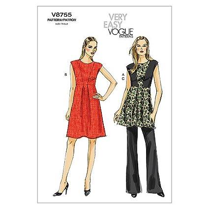 Vogue Patterns V8755 - Patrones de costura para vestidos y conjuntos de blusa larga y pantalón