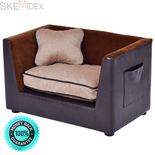 SKEMiDEX---Pet Lounge Sofa Dog Puppy Bed PU Soft Warm Snuggle Couch w/ 2 Cushion Brown. This super-soft pet bed with bolster is designed with comfort in mind The bolster is for your pet to rest by SKEMiDEX