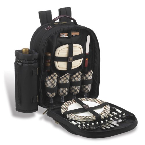 Picnic at Ascot - Deluxe Equipped 4 Person Picnic Backpack with Cooler & Insulated Wine Holder - London Plaid by Picnic at Ascot