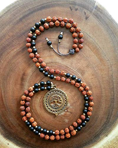 Amazon.com: Yoga Mala Black Onyx Rudraksha Tree of Life ...