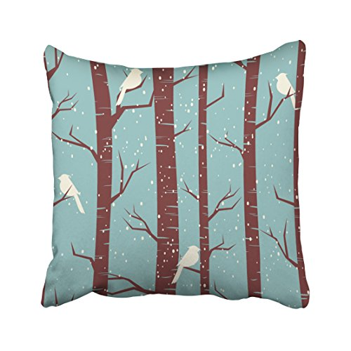 Emvency Decorative Throw Pillow Cover Square Size 16x16 Inches Tiling Birches And Birds In Winter Pillowcase With Hidden Zipper Decor Cushion Gift For Holiday Sofa Bed