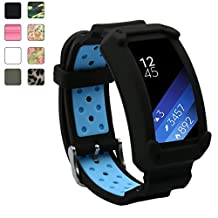 Samsung Gear Fit2 / Gear Fit2 Pro Watch Band, Rugged Silione Rubber Cover Protective Case with Strap Bands for Samsung Gear Fit 2/Fit 2 Pro Smartwatch (Black/Blue)