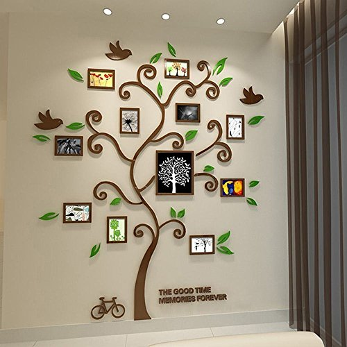 Tree Family Hope Tree of Life Brown 3D Wall Decals Photo Frame Acrylic Decorative Wall Sticker Wall Art, 57 x 69 inch (Coffee)
