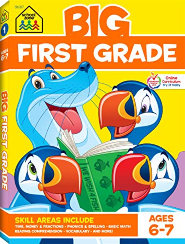 School Zone - Big First Grade Workbook - Ages 6 to 7, 1st Grade, Basic Math, Addition & Subtraction, Telling Time, Reading, Phonics, and More (School Zone Big Workbook Series) (Amazing Zone)