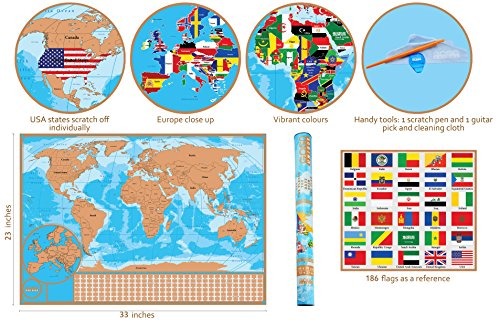 Scratch off world map poster with detailed us states and europe sale gumiabroncs Images
