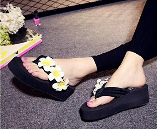 Flops Pantoufles Wedge Tongs Forme Summens Femme Sandales Noir Flip Plate Talon de EYvqZ