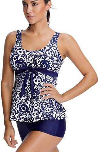 EmilyLe Mujeres Traje de baño de impresión floral Tankini Top Swim vestido con traje de natación corto azul marino-set